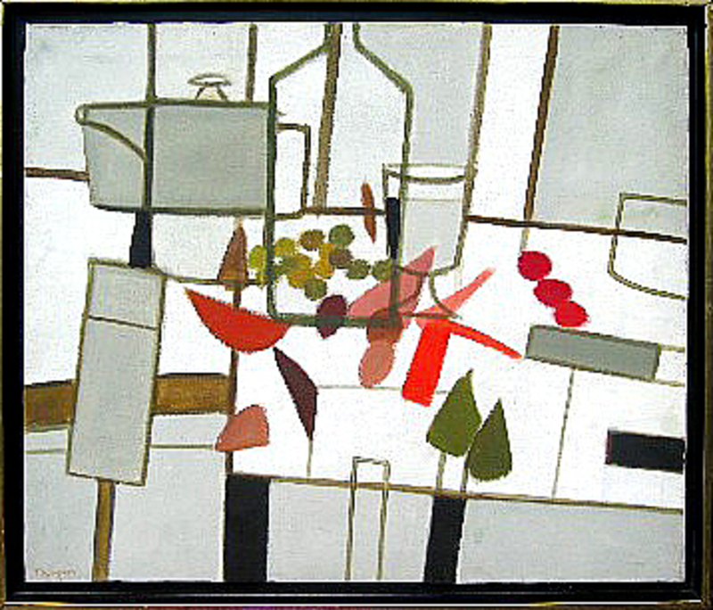 Michel THOMPSON - Pittura - Nature morte à la bouteille