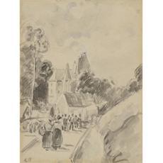 Camille PISSARRO - Drawing-Watercolor - Village Street Scene