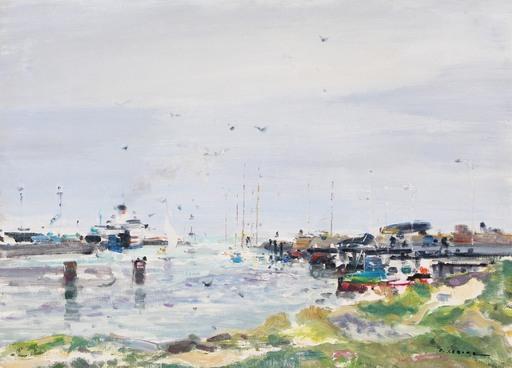 Gaston SEBIRE - Painting - Le port de Ouistréham