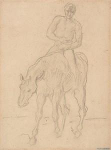 Théodore CHASSÉRIAU - Dessin-Aquarelle - Cavalier, étude pour le Retour des blessés