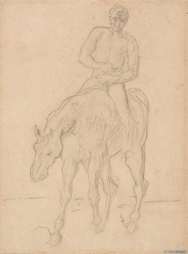 Théodore CHASSÉRIAU - Zeichnung Aquarell - Cavalier, étude pour le Retour des blessés