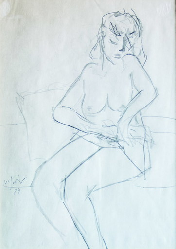 Vasile GRIGORE - Dibujo Acuarela - Nude on the couch