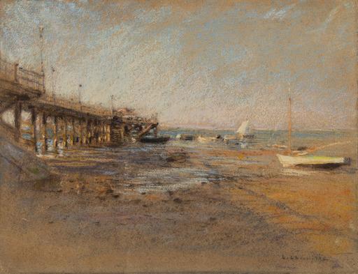Léon Augustin LHERMITTE - Dessin-Aquarelle - Jetée à marée basse