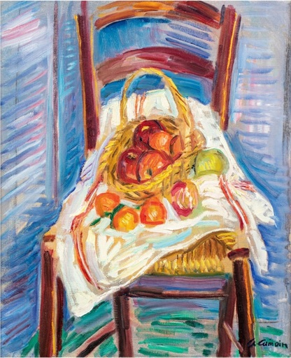 Charles CAMOIN - Painting - Corbeille de fruits sur une chaise