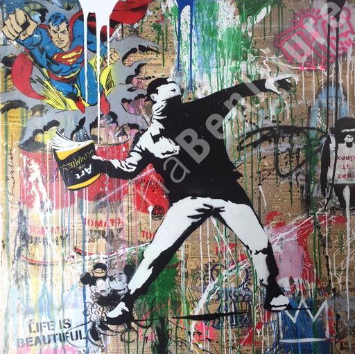 MR BRAINWASH - Peinture - Banksy Thrower