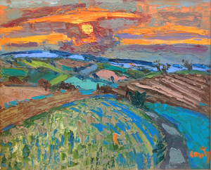 Jean COUTY - Pittura - Paysage des Dombes