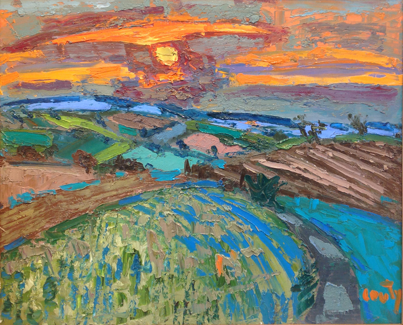 Jean COUTY - Painting - Paysage des Dombes