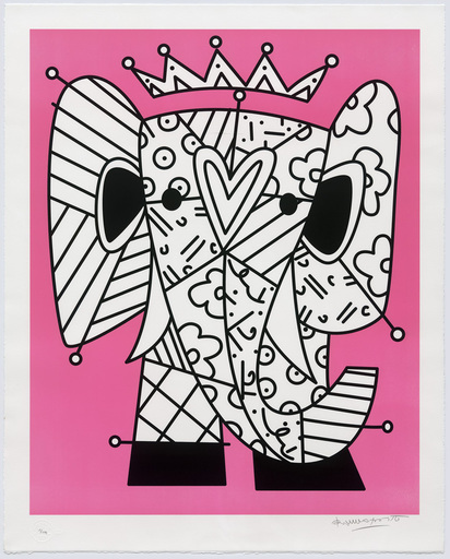 Romero BRITTO - Stampa Multiplo - The Pink Elephant