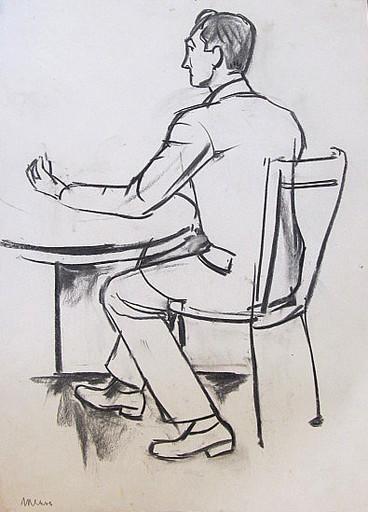 Erich HARTMANN - Disegno Acquarello - Sitzender Mann am Tisch im Anzug.