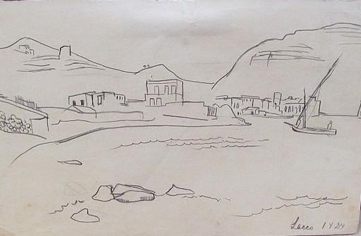 Erich HARTMANN - Disegno Acquarello - Lacco (Ischia)