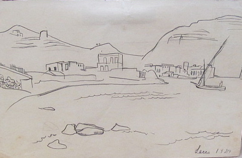 Erich HARTMANN - Dibujo Acuarela - Lacco (Ischia)