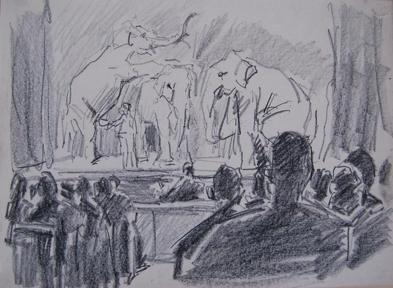 Isaac Lazarus ISRAELS - Drawing-Watercolor - Olifanten op het toneel van het Theater Scala, Den Haag