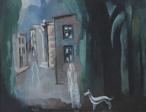 Béla KADAR - Painting - A village view
