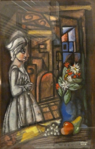 Béla KADAR - Painting - Woman, Interior and Still life