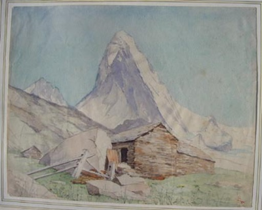 Charles MELTZER - Dibujo Acuarela - Vue du Cervin
