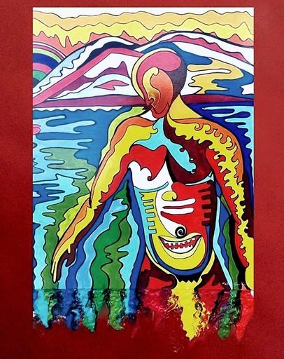 Katie GUITTARD - Peinture - L'homme se baignant de Munch revisité