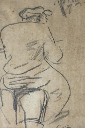 Jean LAUNOIS - Dessin-Aquarelle - Personnage assis