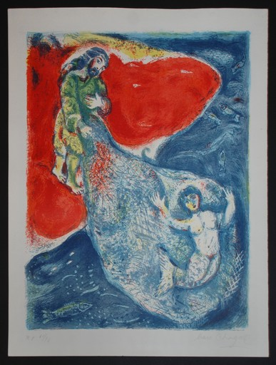 Marc CHAGALL - Grabado - Original Marc Chagall lithograph, When Abdullah got the net
