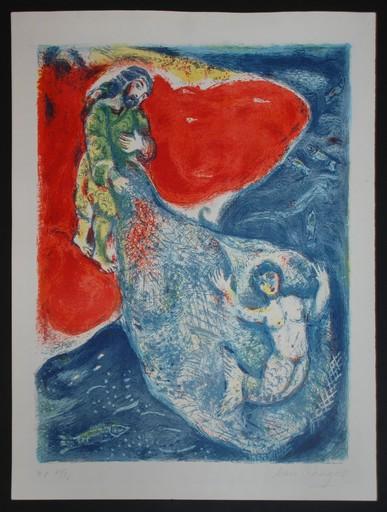 Marc CHAGALL - Estampe-Multiple - Original Marc Chagall lithograph, When Abdullah got the net