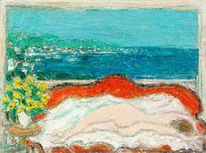 André COTTAVOZ - Painting - Nu au canapé rouge