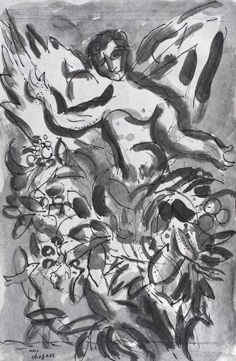 Marc CHAGALL - Drawing-Watercolor - Chérubin