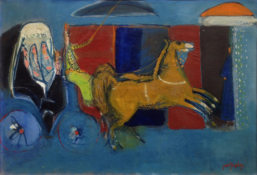 Nahum GUTMAN - Painting - Horse Carriage