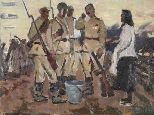 "Leonid Vaselevich TITARCHUK - Peinture -  ""Russia, 1941"", by Leonid Titarchuk, 1960's"