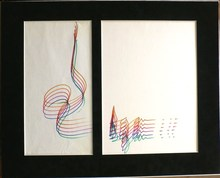 Yaacov AGAM - Dessin-Aquarelle - Six variations sur une sgnature
