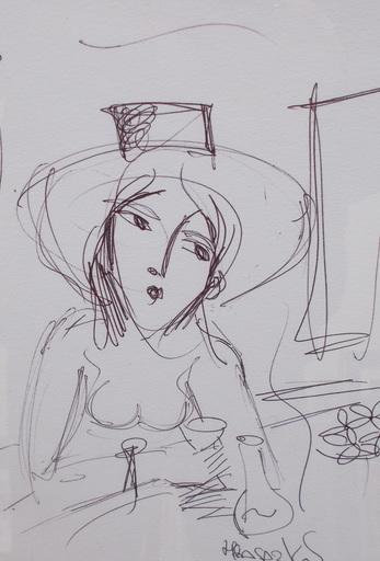 HRASARKOS - 水彩作品 - Femme au bar