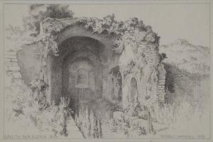 """Rudolf HAMMEL - Zeichnung Aquarell - """"Grotto Egeria near Rome"""" by Rudolf Hammel, 1919"""