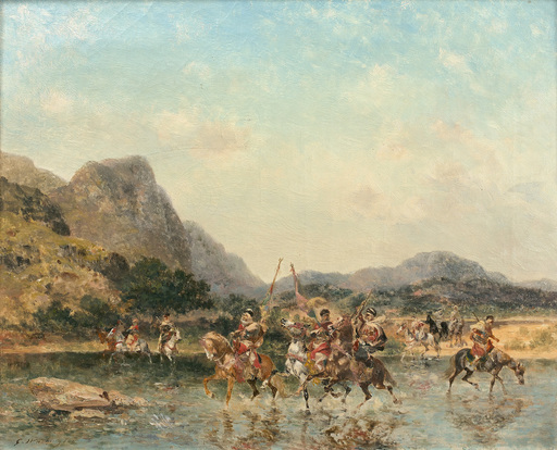 Georges WASHINGTON - Pintura - Cavaliers traversant un oued