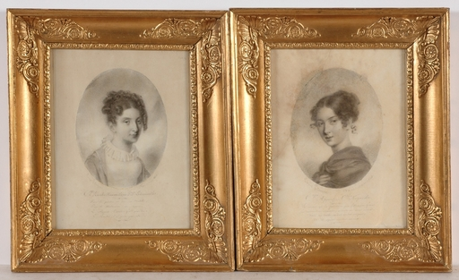 Louis René LETRONNE - Drawing-Watercolor - Countesses Rosalia Rzewuska and Therese Apponyi, 2 Portraits