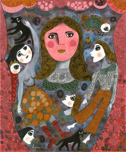 Claudine Marie Claire LOQUEN - Gemälde - Mignonne Allons voir si la Rose...