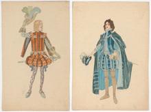 "Rudolf HAFNER - Drawing-Watercolor - ""Two stage costume designs"" watercolors, 1920s"