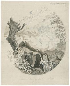 """Johann Christian REINHART - Disegno Acquarello - """"Ossians und Malvina's Geister im Thal von Glencoe""""."""