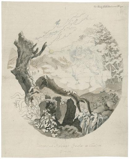 """Johann Christian REINHART - Zeichnung Aquarell - """"Ossians und Malvina's Geister im Thal von Glencoe""""."""