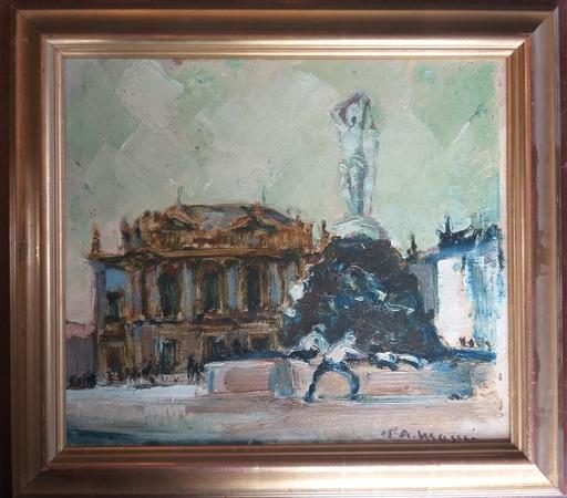 Paul Auguste MASUI - 绘画 - Place de L'oeuf Montpellier