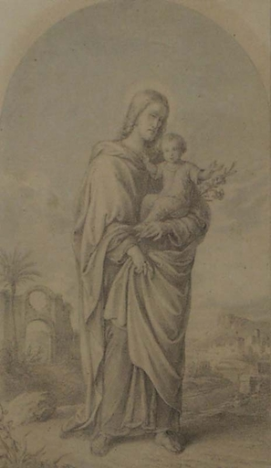 "Josef VON FÜHRICH - Dibujo Acuarela - ""St.Joseph with Child"", Nazarene drawing, early 19th C."