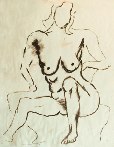 Manuel MONTERO - Disegno Acquarello - Femme nue n°3