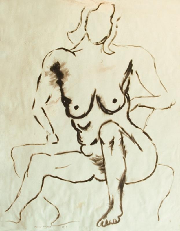 Manuel MONTERO - Dessin-Aquarelle - Femme nue n°3