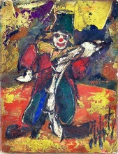 Henry Maurice D'ANTY - Pintura - Clown with Fiddle