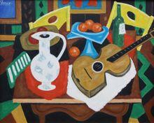 Roland CHANCO - Pintura - La guitare et le vase blanc