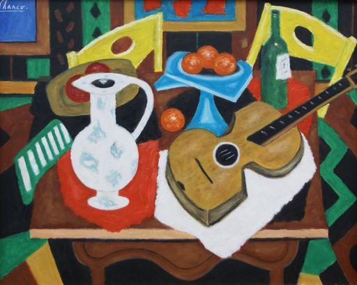 Roland CHANCO - 绘画 - La guitare et le vase blanc