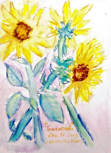 Jean-Pierre CHEVASSUS-AGNES - Dessin-Aquarelle - 3 fleurs de tournesols de Loire  sur leur tige