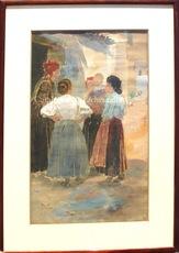 """Ulpiano CHECA Y SANZ - Drawing-Watercolor - Femmes - Vecinas """"Colmenar de Oreja"""" Madrid"""