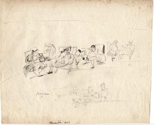 """Jules PASCIN - Drawing-Watercolor - """"Sur la plage de Marseille"""""""