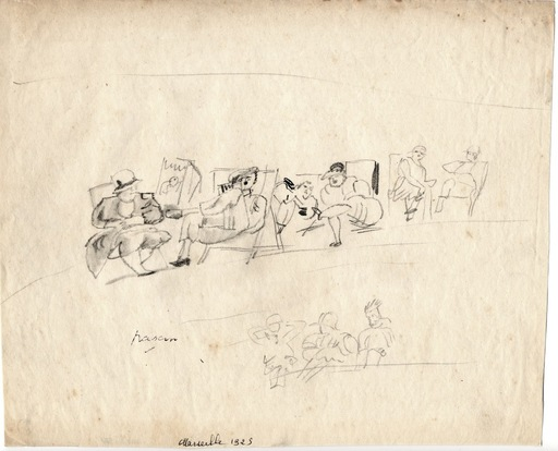 "Jules PASCIN - Dibujo Acuarela - ""Sur la plage de Marseille"""