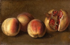 Vanessa BELL - Peinture - Still life with peaches & pomegranate – Hommage to Cezanne