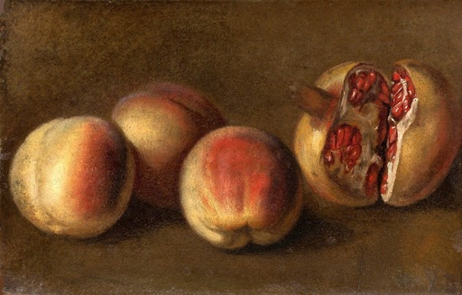 Vanessa BELL - Pintura - Still life with peaches & pomegranate – Hommage to Cezanne
