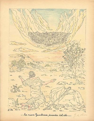 乔治•德•基里科 - 版画 - La nuova Gerusalemme, discender dal cielo,1941